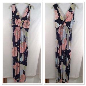 Gilli floral tropical v neck maxi dress with slit